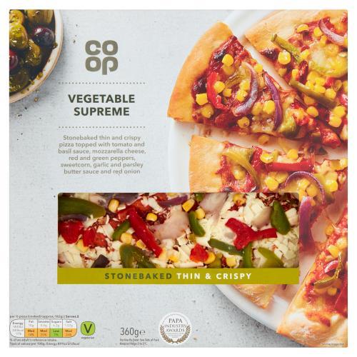 Co Op Stonebaked Thin Crispy Vegetable Supreme 360g