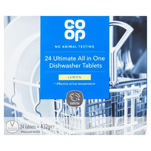Co Op 24 Ultimate All In One Dishwasher Tablets Lemon 432g