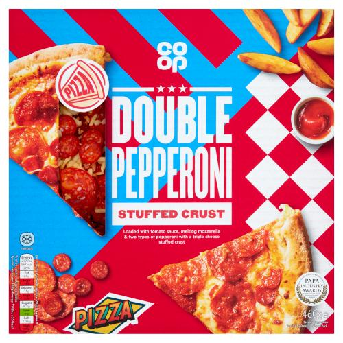 Co Op Stuffed Crust Double Pepperoni Pizza 460g